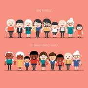 Family concept. Big happy Family and international family. Stock Illustration