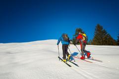 Randonnee ski trails Stock Photos