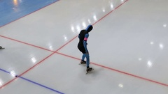 Two athlete speed skater Stock Footage