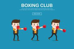 Vector illustration of man with boxing gloves. Stock Illustration