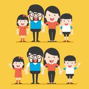 Portrait of four member happy stylish family posing together. Stock Illustration