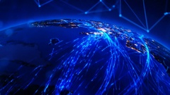 Rotating Earth with bright connections. United States. Stock Footage
