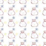 Vector Christmas and new year hand drawn seamles pattern Stock Illustration
