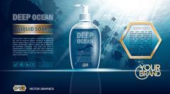 Digital vector blue deep ocean liquid soap mockup Stock Illustration