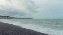 View of waves on the sea, Normandy. Cloudy weather  on a coast. Azure water and Stock Footage
