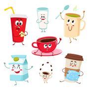Set of funny milk, coffee, tea cup, glass, mug characters Stock Illustration