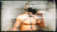 Man gogo muscular party war gasmask Stock Footage