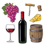 Wine set of bottle, glass, barrel, grapes, cheese, cork, corkscrew Stock Illustration
