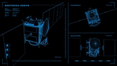 Looping, orthographic view of rotating wireframe model of Dawn spacecraft. Stock Footage