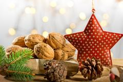 Wallnuts with Christmas star Stock Photos