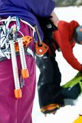 Close up of mountaineering equipment on mountaineers harness Stock Photos