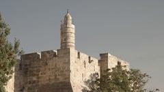 Tower of david and minaret at old city, jerusalem Stock Footage