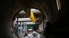 Construction Site Of The Underground Tunnel Stock Footage