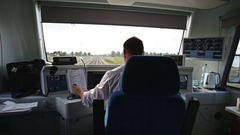 View from behind of the train driver's seat Stock Footage