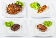 Steak of different meat type image set Stock Photos