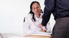 Chef brings a lot of work to her co-worker, she is very very dissatisfied Stock Footage