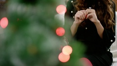 Woman looking at a ring presented for christmas Stock Footage