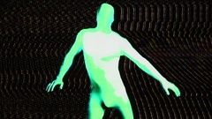 Glow uv neon sexy disco fancy man morphsuit robot electronic toy Stock Footage
