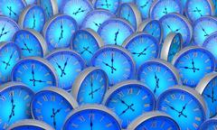 Space and time. Many blue circular clock. 3D illustration. Stock Illustration