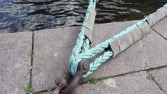Rope for mooring the ship Stock Footage