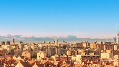 Madrid skyline cityscape timelapse day to night pan Stock Footage