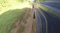 Off Road Vehicle - Low Angle View Stock Footage