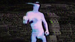 Glow uv neon sexy disco man morphsuit robot electronic toy Stock Footage