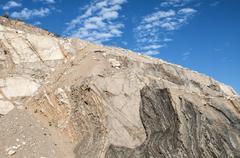 Slope of  abandoned stone quarry Stock Photos