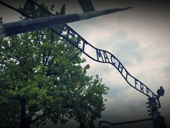 Main gate of Auschwitz concentration camp Stock Photos