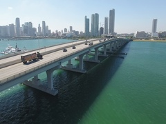 City of Miami Bridge Daily Flowing Traffic Stock Footage