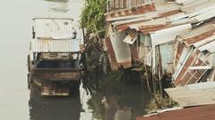 Slum on the river. Saigon. Vietnam. 8 View Stock Footage