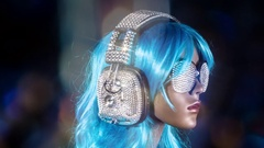 Mannequin music headphones diamonds crystals bling 4k Stock Footage