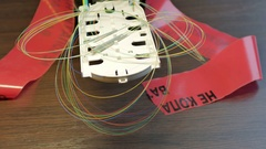 Optical tray with alarm tape Stock Footage