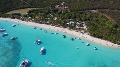 Aerial view of White Bay, Jost Van Dyke, British Virgin Islands Stock Footage