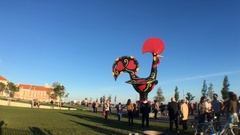 Crowd At Barcelos Rooster Statue In Lisbon, Portugal Stock Footage