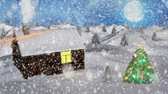 Abstract Loopable Background with nice snow and christmas trees Stock Footage