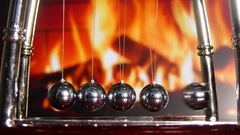 Newton Cradle Bouncing Chrome Balls Stock Footage