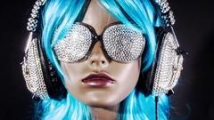 Mannequin music headphones diamonds crystals bling 4k Stock Footage