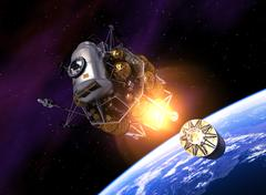 Interplanetary Space Station Launch Into Space Stock Illustration