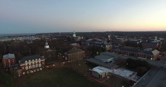 Aerial - Approaching Downtown Annapolis Stock Footage