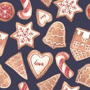 Nice ginger cookies vector pattern Stock Illustration