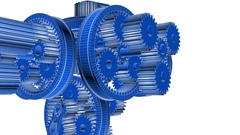 Colorful gears rotation. Full HD 3d render Stock Footage