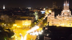 Madrid timelapse at night city center cybele palace zoom out Stock Footage