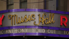 Music Hall Of Radio City Marquee Stock Footage