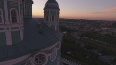 Cathedral at Sunset View from Above  Copter Shooting Stock Footage