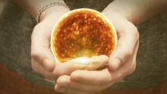The sun revolves in man hands Stock Footage