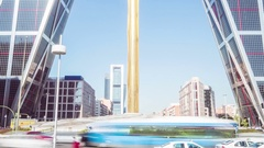 Madrid twin towers traffic timelapse zoom out Stock Footage