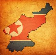 North korea territory with flag Stock Illustration