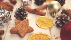 Christmas decorations and spices. sliding motion Stock Footage