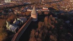 Old Kremlin Brick Wall at Sunset  Top Shooting  Copter Shooting Stock Footage